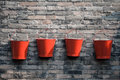 Four fire buckets Royalty Free Stock Photo