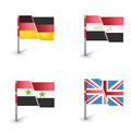 Four flags isolated on white background Stock Image