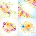 Four floral designs. Eps8 (Flatten transparency). Stock Photo