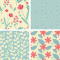 Four floral seamless patterns Royalty Free Stock Photo