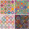 Four flower color set seamless pattern Royalty Free Stock Photo