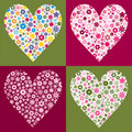 Four Flower Filled Hearts Royalty Free Stock Images