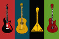 Four flyers with guitars on the colorful backgrounds Royalty Free Stock Photos