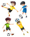 Four football players illustration of the on a white background Stock Photos
