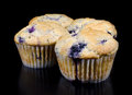 Four fresh baked homemade blueberry muffins black background slight reflection bottom photograph Stock Photo