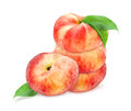 Four fresh ripe peaches with leaf. Royalty Free Stock Photo