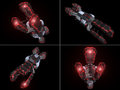 Four Front Views of Black and Red Space Ship Stock Photos