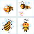Four funny bees Stock Photos