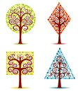 Four geometrical trees. Stock Photography