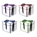 Four gift boxes with bows Stock Photo