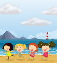Four girls dancing at the beach illustration of together Royalty Free Stock Photos