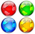 Four Globes Illustration Royalty Free Stock Photos