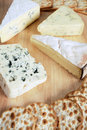 Four gourmet cheeses Stock Images