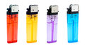 Four half transparent simple lighters red yellow orange purple bule isloated white background Royalty Free Stock Photo