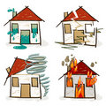 Four hand drawn houses Royalty Free Stock Photography