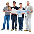 Four happy men carrying a young woman,on white Royalty Free Stock Image