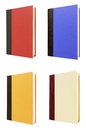 Four vertical hardback books front cover isolated on white background Royalty Free Stock Photo