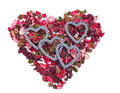 Four hearts in the background of heart made from sachet Royalty Free Stock Photo