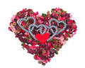 Four hearts in the background of heart made from sachet Stock Photo