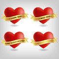 Four hearts and banners illustration of d looking Royalty Free Stock Image