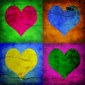 Four hearts with diferent colors