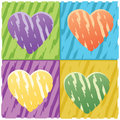 Four hearts grunge Stock Image