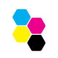 Four hexagons in CMYK colors. Printer theme. Vector illustration