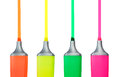Four Highlighter Pens Royalty Free Stock Photo