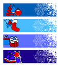 Four horizontal winter banners Stock Photo