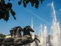 Four horse fountain in Alexander Gardens near Red Square, Moscow Royalty Free Stock Photo