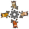 Four horse with a gear humorous illustration of circling on Royalty Free Stock Photography