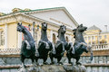 Four horse sculpture in moscow black russia Royalty Free Stock Images