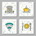 Four hotel service linear icons Royalty Free Stock Photo