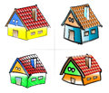 Four houses in different colors illustrations of similar cottage style each with tiled roof and chimney but a variety of isolated Royalty Free Stock Images