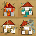 Four houses & disasters Stock Photos