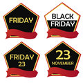 Four icons for black friday different pentagon with text and ribbons Royalty Free Stock Photography