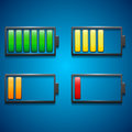 Four icons of charge from maximum to minimum in different colors for device Stock Photography