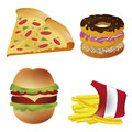 Four icons of fast food representing a pizza donuts hamburger and french fries Royalty Free Stock Photos