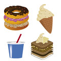 Four icons of fast food in white background Royalty Free Stock Image