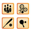 Four icons of funny sports black silhouettes different in orange boxes Stock Photo