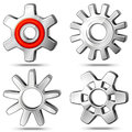 Four icons of gears detailed steel cogwheels with shadows Stock Photos