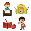 Four icons for school related to activities the Stock Images
