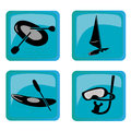 Four icons of sea sports different silhouettes elements to practice Royalty Free Stock Photos