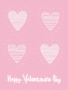 Four identical Sketch hearts with ornament. Hand drawn cute greeting card Valentines day.