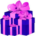 Four isolated blue gift box with pink ribbon