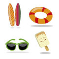 Four items for summer different related to in a white background Stock Images