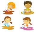 Four kids having food