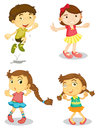 Four kids illustration of on a white background Stock Images