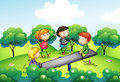 Four kids playing with the seesaw at the hill Royalty Free Stock Photo