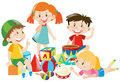 Four kids playing with toys Royalty Free Stock Photo